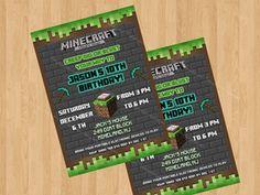 MINECRAFT INVITATION BIRTHDAY MINECRAFT BIRTHDAY CARD Minecraft printable…