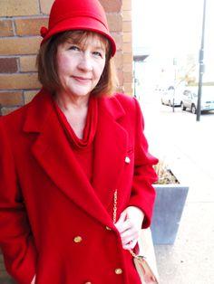 Red wool full-length jacket