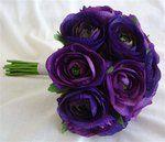 Purple ranunculus wedding bouquet
