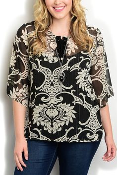 DHStyles Women's Black Cream Plus Size Dressy Sheer Ethnic Print Layered Lace-Up Neckline Top - 1X Plus #sexytops #clubclothes #sexydresses #fashionablesexydress #sexyshirts #sexyclothes #cocktaildresses #clubwear #cheapsexydresses #clubdresses #cheaptops #partytops #partydress #haltertops #cocktaildresses #partydresses #minidress #nightclubclothes #hotfashion #juniorsclothing #cocktaildress #glamclothing #sexytop #womensclothes #clubbingclothes #juniorsclothes #juniorclothes…