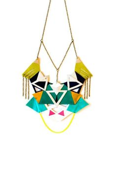 Emerald Statement Necklace Geometric Leather Color Block Triangles Statement Jewelry #emerald