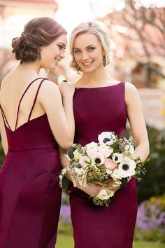 Strappy burgundy bridesmaid dresses