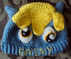 """Crocheted """"My Little Pony"""" Hat with """"BRONY"""" written on the brim. Perfect for the Brony in your life!"""
