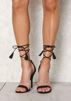 Black Suedette Lace Up Tassel Strap Heels