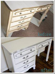 A simple desk makeover - DIY Desk Ideen Diy Design, Design Blog, Modern Design, Diy Dresser Makeover, Furniture Makeover, Dresser Makeovers, Louis Xvi, Cool Diy, Farmhouse Desk