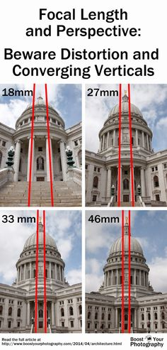 Focal Length and Perspective: beware distortion and converging verticals. From Photographing Architecture: watch your lines.