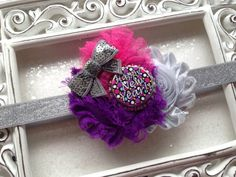 HAPPY NEW YEAR!    This beautiful headband is perfect for fragile Childrens heads. Very soft & comfortable. Silver, Purple & Hot Pink chiffon