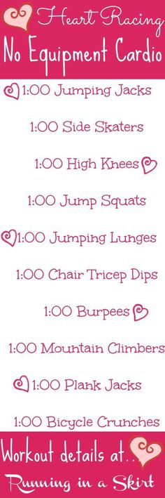 Heart Racing No Equipment Cardio Workout. Simple, effective cardio workout that you can do at home- involves NO running! Get your fitness on and heart rate up! | Running in a Skirt