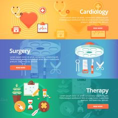 Medical and Health Flat Banners Set by painterr on @creativemarket