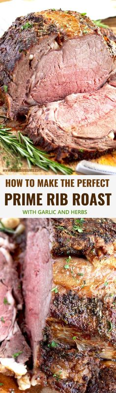 This Prime Rib Roast Recipe is elegant succulent easy to make and perfect for the holidays! This Herb Crusted Prime Rib Roast is tender juicy and cooked to perfection! Plus tips for buying and cooking Prime Rib! This Prime Rib Roast Garlic Recipes, Rib Recipes, Roast Recipes, Paleo Recipes, Cooking Recipes, Recipies, Rib Roast Recipe, Prime Rib Recipe, Beef Dishes