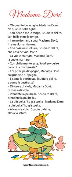 Madama Doré 2 Everyday Italian, Canti, Kids Poems, Italian Words, Old Cards, Vintage Fairies, Italian Language, Learning Italian, Baby Education