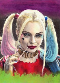 Quality prints of my Harley Quinn (Margot Robbie in Suicide Squad) original portrait are now available in two sizes on 200gr paper. Every print is signed and well packed for shipping. Original drawing was made with prismacolor colored pencils, ink and acrylics on paper.