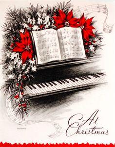 Vintage Christmas card - music.