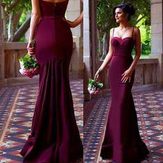 Sexy Spaghetti Straps Mermaid Long Maroon Prom Dress Evning Dress Bridesmaid Dress