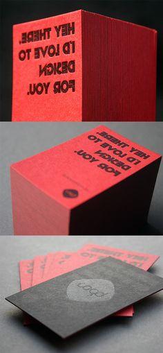 Bold Red And Black Letterpress Business Card Design For A Graphic Designer