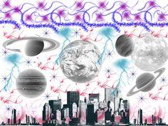 """""""Mundo Planetario""""  Fue elaborado con pinceles Arcane Circles, Edges, Lightning, Green Lotus, Planets, Sparklies. Dirección Horizontal. Tamaño 1024 x 768"""