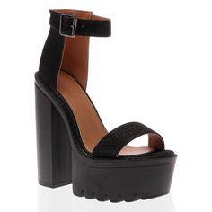Jessi Black Glitter Cleated Sole Platform Shoes