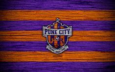Télécharger fonds d'écran Pune City FC, 4k, l'Indian Super League, le football, l'Inde, le club de football de la Ville de Pune, ATK, texture de bois, le FC Pune City
