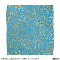 golden mandala decoration on blue