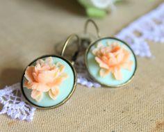 Aqua peach rose vintage earrings