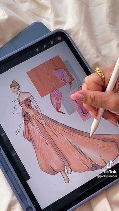 Fashion Design Books, Fashion Design Sketchbook, Fashion Design Portfolio, Fashion Design Drawings, Fashion Sketches, Fashion Sewing, Diy Fashion, Fashion Drawing Tutorial, Dress Design Drawing