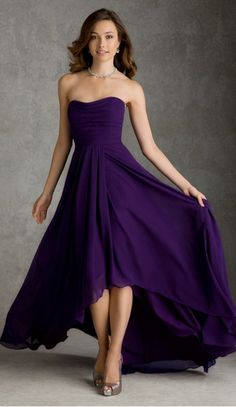 Pretty High Low Length Regency Bridesmaid Dress  Would be pretty in your blue!!
