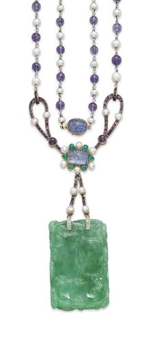AN ART DECO JADEITE, AMETHYST AND PEARL NECKLACE, BY CARTIER The rectangular-shaped carved jadeite depicting two dragons, each holding a 'ling zhi', representing strength, goodness and longevity, suspended from a carved sapphire, emerald bead, amethyst and pearl surmount, to the amethyst bead and pearl long chain with collet-set carved sapphire detail, circa 1920, 77.5 cm, pendant 9.1 cm, with French assay mark for gold Signed Cartier Paris Londres New York