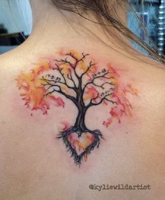Tree tattoo with Heart. it is thought that the trees symbolizes the strength and incorporating a heart with the tree tattoo would indicate the strength in the relationship or love. Mama Tattoos, Family Tattoos, Tattoo Life, Finger Tattoos, Body Art Tattoos, Key Tattoos, Skull Tattoos, Watercolor Tattoo Tree, Tattoos Familie