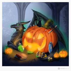 my little pumkin challenge :D thanks to paintable :D Pumpkin Carving, Challenges, Thankful, Halloween, Digital, Amazing, Art, Art Background, Kunst