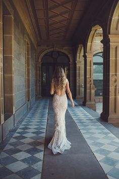 Backless gown sexy beautiful long hair blond curls gorgeous Werribee Mansion Garden outdoor wedding Melbourne Australia photographer