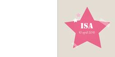 Geboortekaartje: Stoer met grote roze ster met plakbandjes - voorkant