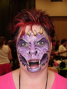 Dragon face painting Spider Face Painting, Dinosaur Face Painting, Monster Face Painting, Dragon Face Painting, Face Painting For Boys, Face Painting Designs, Paint Designs, Body Painting, Scary Face Paint