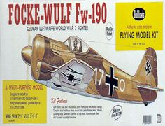 I built models like this.  The Guillows 1/16 Focke-Wulf FW-190 is a balsa wood aircraft model kit from the range manufactured by Guillow.  Although it had a radial engine, the German Focke-Wulf Fw-190 was one of the most beautifully proportioned fighters of World War 2. The pride of Marshall Goering, the 190 maintained superiority over the British Spitfire 5 for almost two years because it could out fly its opponent on nearly every count.