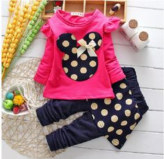 Hot Minnie Mouse Real Cotton 2016 Girls Clothing Set T-shirt + Pants Suit 2pcs/set Long-sleeved Dot For 2-5T Baby girls clothes #>=#>=#>=#>=#> Click on the pin to check out discount price, color, size, shipping, etc. Save and like it!