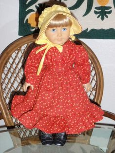 1800s 2 Pc Laura's Red Dress & Sunbonnet for American Girl Kirsten 18 inch dolls by alohagirldollclothes on Etsy