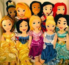 Disney Princess Plush Dolls Rapunzel Snow White Tiana  Pocahontas Cinderella Aurora Ariel Jasmine Belle Mulan
