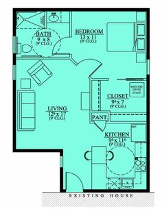 Floor Plan (no exterior available) / approx 600 sq ft / Granny flat or guest quarters? Small House Floors Plans, Tinyhouse, Inlaws Suits, Tiny House Plans, Garages Converse, Tiny Houses, Guest House, Mothers In Law Suits Plans, Mother-In-Law Suits