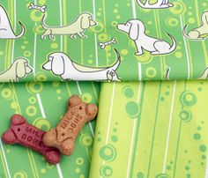 Modern Bassets Collection in Green - Spoonflower