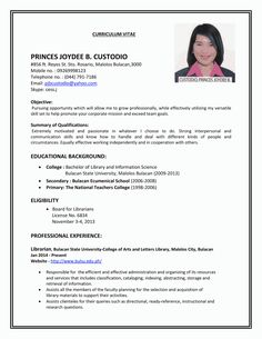 11 Resume Samples Philippines Resumes Pinterest Resume