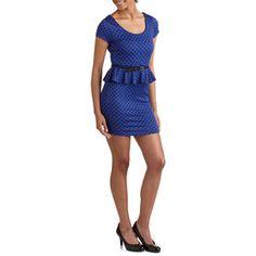f36e4c0eb4f34d ONLINE - Women s Peplum Dress with Tonal Dots - Walmart.com