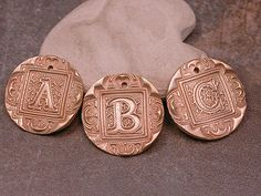 Goldie Bronze Metal Clay Large Ornate Letter by DivineSparkDesigns, $12.00
