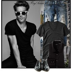 A fashion look from November 2015 featuring HUGO tops, Replay jeans and Wolfnoir sunglasses. Browse and shop related looks.