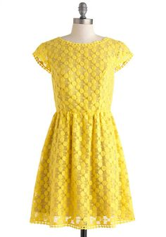 Girls Just Wanna Have Sun Dress by Kensie Girl - Mid-length, Yellow, Solid, Crochet, Embroidery, Party, A-line, Cap Sleeves, Crew, Daytime Party, Vintage Inspired