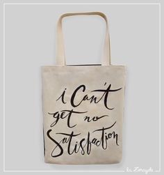 Bolsa Satisfaction #tote #bag #lettering #handmade #RollingStones