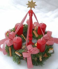 Advent Candles - but also quite nice as a centerpiece. Repinned by www.mygrowingtraditions.com