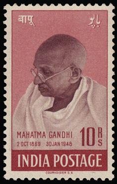 """N° 187/190 """"1948 Gandhi"""" mooie reeks (Mi Euro 300)- zie foto kaft.    Dealer  Van Looy Stamp Auctions    Auction  Minimum Bid:  200.00EU"""