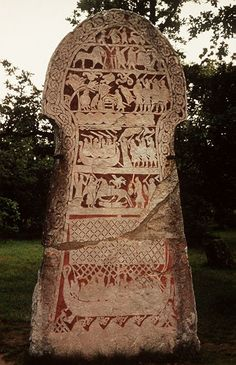 Runestone from Gotland showing the Valknot.  I want to run my hands over this and I know I could gaze at this for a very long time to take in the details...