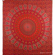 Vibrant Red Floral Indian Mandala Tapestry Wall Hanging Bedspread Duvet Cover on RoyalFurnish.com, $22.99