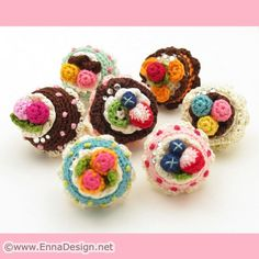 Miniature Amigurumi Cake Ring Strawberry Field Cake by ennadesign. $24.50, via Etsy.