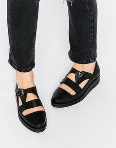 Image 1 ofPark Lane T Bar Chunky Leather Flat Shoes